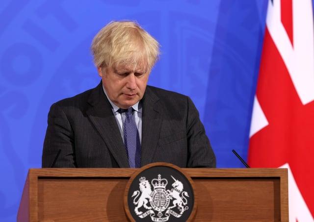 Boris Johnson at Monday night's press briefing in Downing Street.