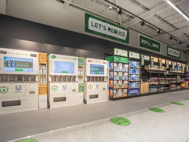 Refill stations in Middleton, Leeds store.