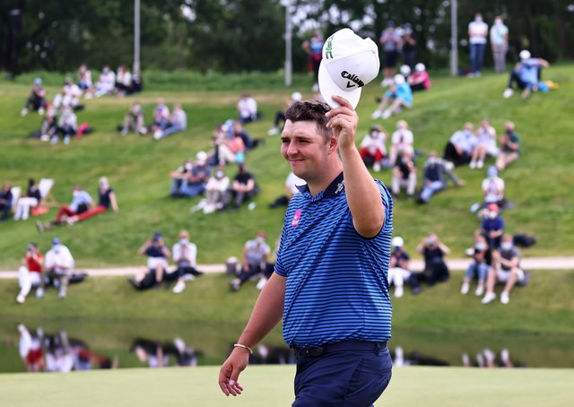 Winner: Marcus Armitage reacts to applause after winning The Porsche European Open at Green Eagle Golf Course in Hamburg, Germany. Picture: Getty Images