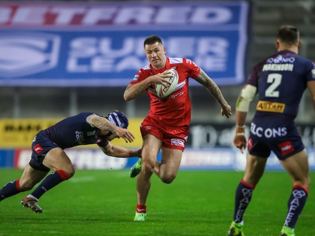 Hull KR's Shaun Kenny-Dowall on the charge against St Helens (SWPIX)
