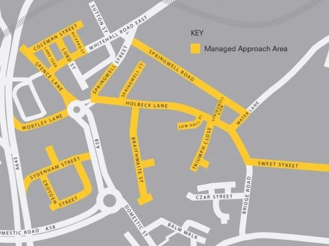 A map of the Managed Approach zone in Holbeck