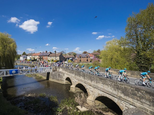 The Tour de Yorkshire passing through Crakehall in North Yorkshire