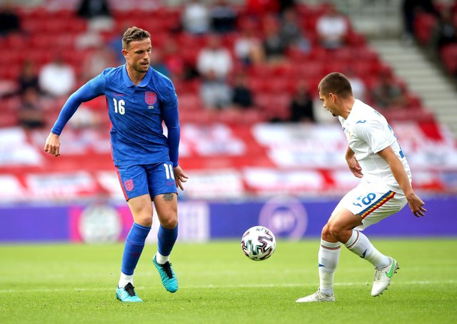 TRIAL RUN: Jordan Henderson has had only 45 minutes of football since February due to an injury that kept him out of England's opening win against Croatia. Picture: Nick Potts/PA