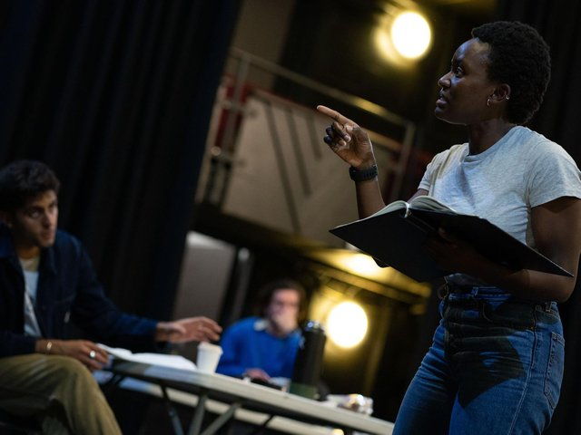 Brianna Douglas in rehearsal for Beyond These Walls.