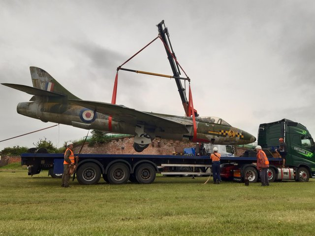 The Hawker Hunter XF509 being loaded on Thursday at Fort Paull near Hull on the start of her journey to Margate Pic: Alex Wood