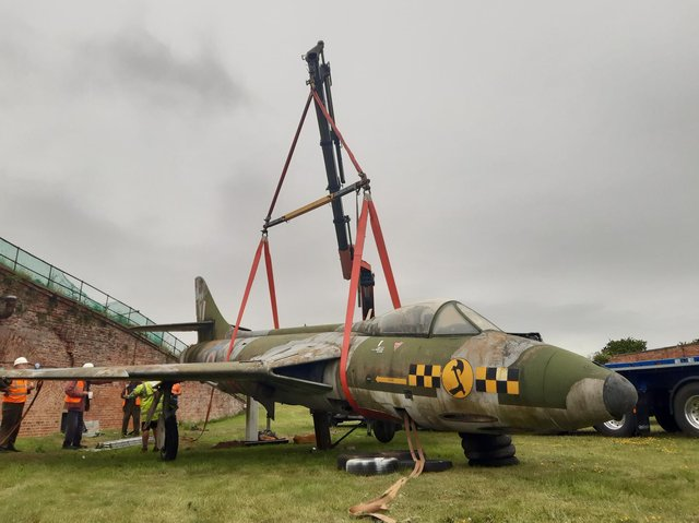 The plane which stood outside for decades is now in a hangar at Manston in Kent, where she will stay temporarily