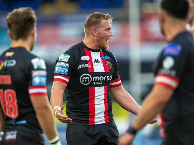 Salford Red Devils' James Greenwood cannot believe he has been sent off (BRUCE ROLLINSON)