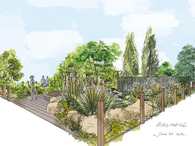"""An artist illustration issued by the Royal Horticultural Society (RHS) of a Cop26 garden with a """"very strong political message"""" on how gardening can help the environment which will feature at this year's Chelsea Flower Show."""