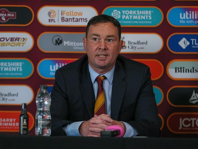 MANAGER: Bradford City boss Derek Adams. Picture: Thomas Gadd