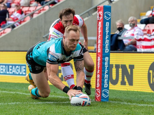 Hull FC winger Adam Swift goes over against Leigh Centurions (BRUCE ROLLINSION)