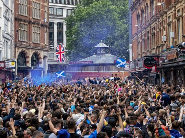 PARTY: Scottish fans descend on Leicester Square ahead of their Euro 2020 game against England at Wembley
