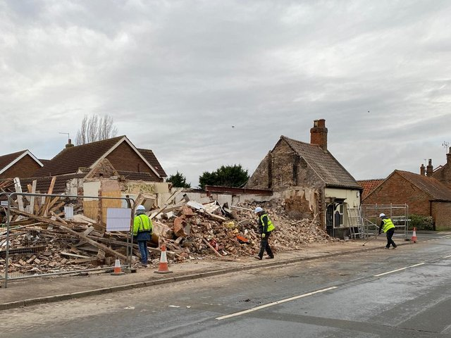 The Travellers Rest following its demolition, leaving a side building, which opening later this month as the Micro Pig Bar Long Riston