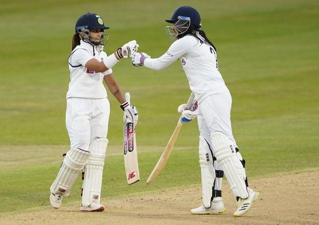 Match-savers: India's Taniya Bhatia and Sneh Rana. Picture: PA