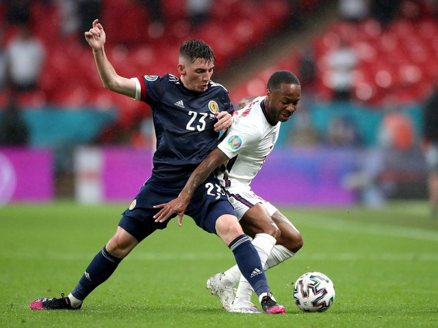 POSITIVE: Billy Gilmour, pictured tackling Raheem Sterling in Friday's 0-0 draw