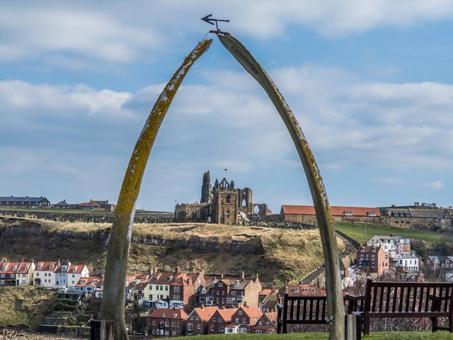 A view towards Whitby Abbey through the replica whale jaw bone which replaced the original archway. Picture: James Hardisty.