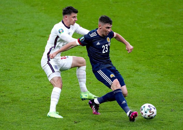 FLASHPOINT: England's Mason Mount (left) and Scotland's Billy Gilmour battle for the ball at Wembley last Friday. Picture: Mike Egerton/PA