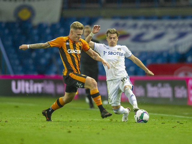 CLASH: Thomas Mayer is tackled by Ezgjan Alioski when Hull City took on Leeds United in last season's League Cup second round