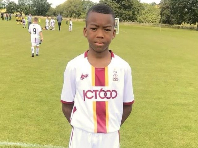 Pictured, Tomi Solomon, 13, a talented footballler who played for the academy at Bradford City. Sadly the teenager died earlier this month. Photo credit: Submitted photo