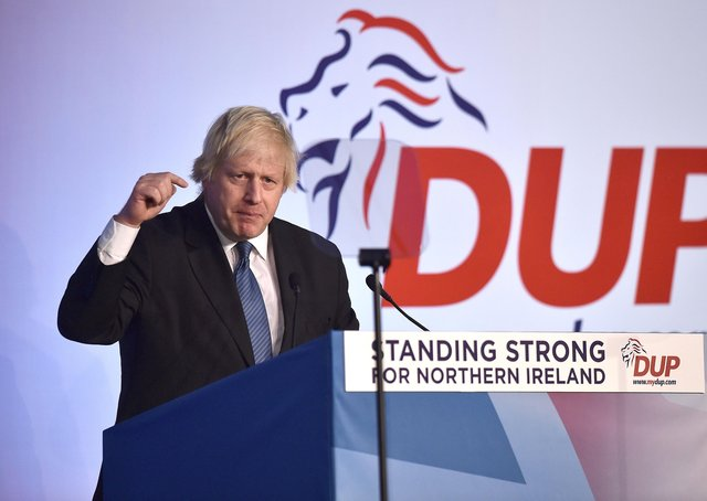 Conservative party MP Boris Johnson delivers his speech during the Democratic Unionist Party annual conference at the Crown Plaza Hotel on November 24, 2018 in Belfast, Northern Ireland. The DUP strongly oppose the propsed Brexit deal brokered between the UK government and the EU. The DUP currently props up the Conservative UK government following the last general election.