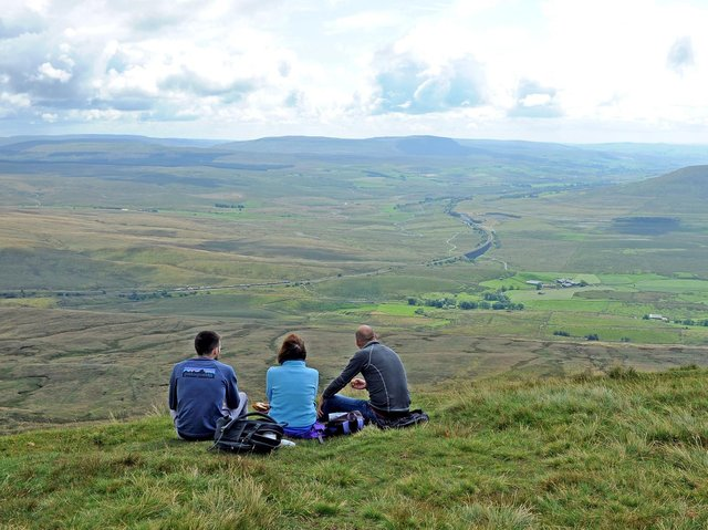 Walkers at the top of Whernside