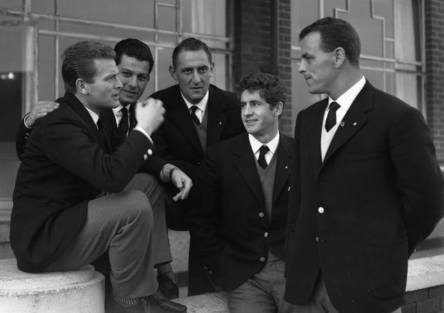 Giampiero Boniperti with Juventus teammates in December 1957. From left: Boniperti, Stivanello, Nay, Turchi and John Charles.