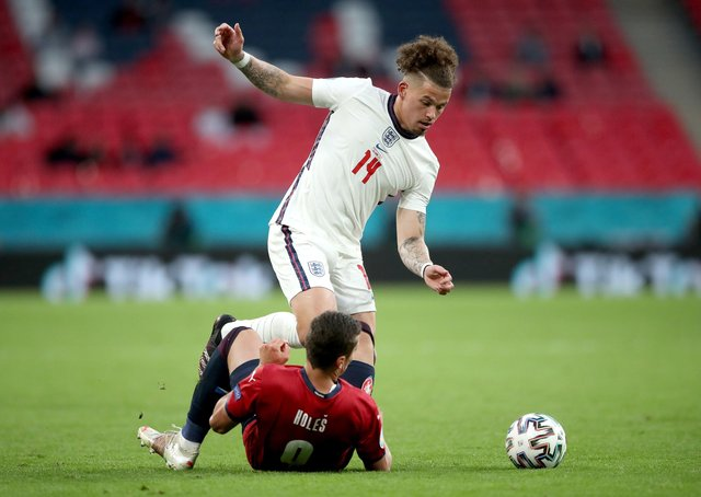 Ever-present: England's Kalvin Phillips and Czech Republic's Tomas Holes battle for the ball during the UEFA Euro 2020 Group D match at Wembley. Picture: PA.