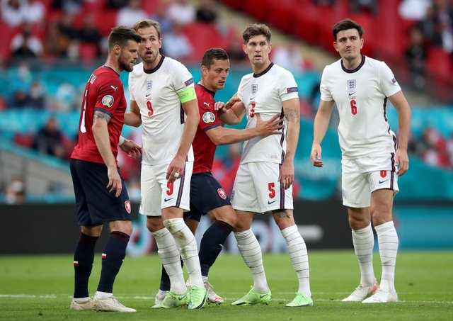 England's Harry Kane (9), John Stones (5) and Harry Maguire (6) in action against the Czech Republic. Picture: Nick Potts/PA Wire.