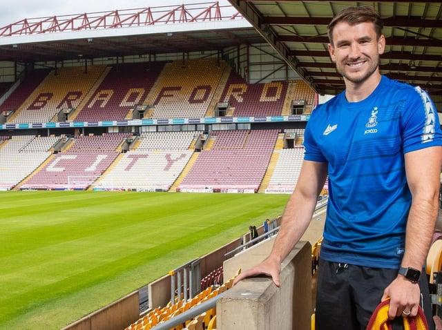 New Bradford City signing Liam Ridehalgh. Picture courtesy of Bradford City AFC.