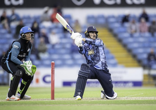 Jordan Thompson hits out against the Rapids on his way to 66 from 28 balls. Pictures: Allan McKenzie/SWpix.com