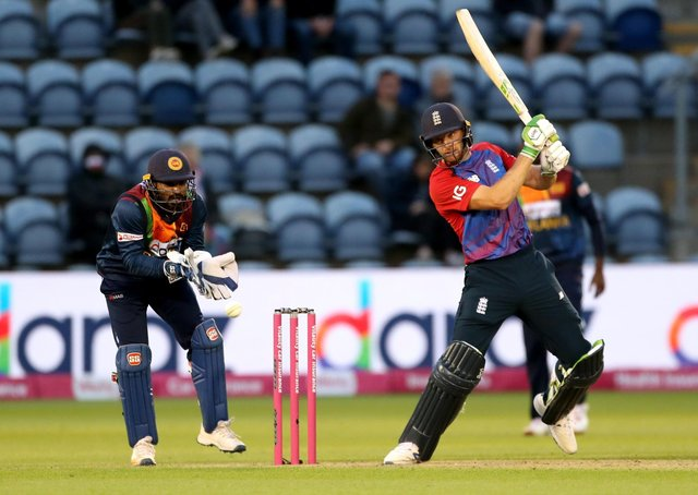 England's Jos Buttler lets loose during the Twenty20 International match against Sri Lanka at Sophia Gardens, Cardiff. Picture: David Davies/PA Wire.