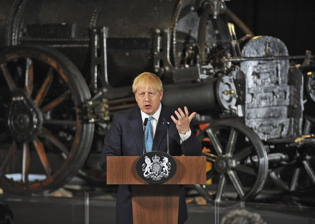 Prime Minister Boris Johnson giving a speech on domestic priorities at the Science and Industry Museum in Manchester three days after taking office in July 2019.