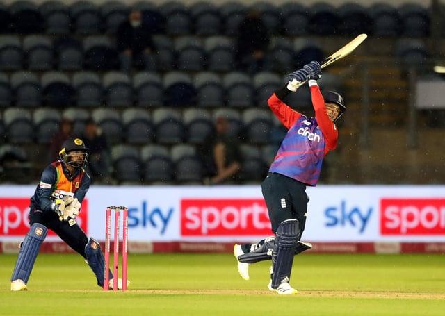 Victory: England's Sam Curran hits a six to win the Twenty20 international match at Sophia Gardens.