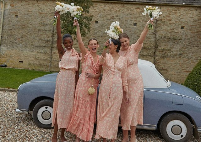 Rixo's new collection of bridesmaids dresses comes in a range of shades including this Virtues of Rosemary peach, prices £275-£315 at rixo.co.uk.
