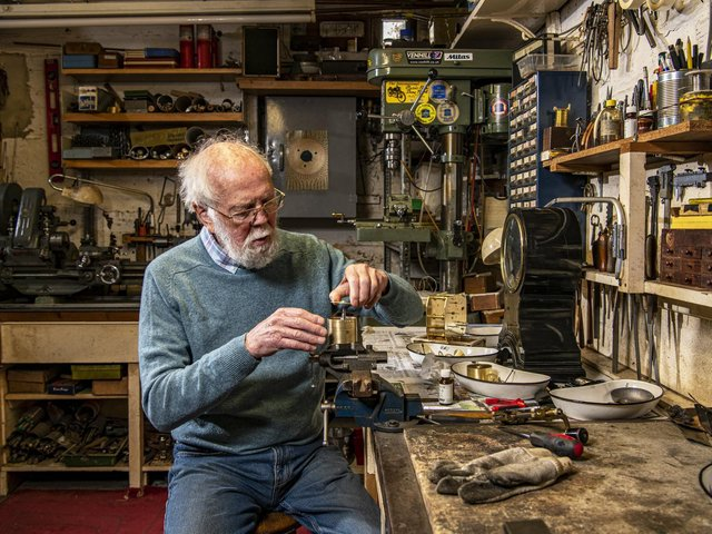 David Barker is one of only a few clock conservators who at 81 is still charged with some of the nation's greatest clocks. Picture Tony Johnson