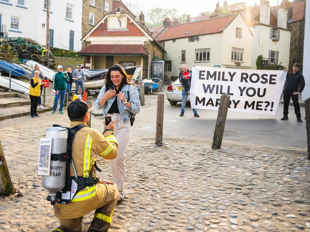 Joey proposing to Emily (credit Chalkie Bolton Photography)