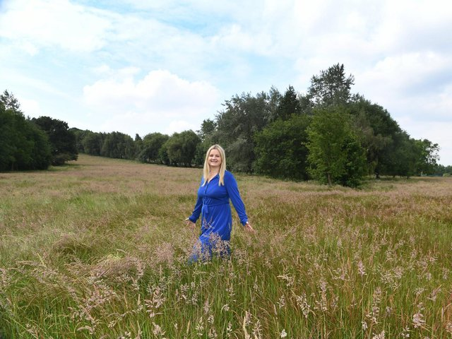 Esther Wakeman, CEO of Leeds Hospitals Charity, at the site of the proposed Covid Memorial Woodland.