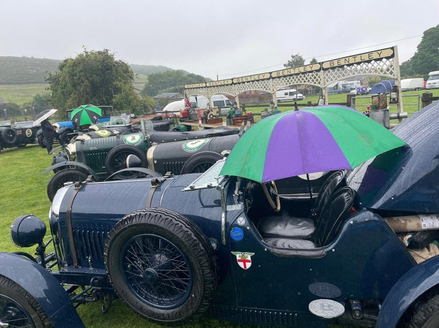 Braving the rain: vintage cars in Holmfirth this weekend for the Yorkshire Motorsport Festival (Image: Amanda Crowther)