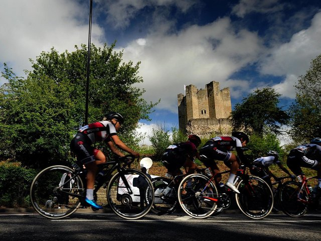 The womens race of the Tour de Yorkshire passes by Conisbrough Castle in 2018. Picture by Simon Hulme.