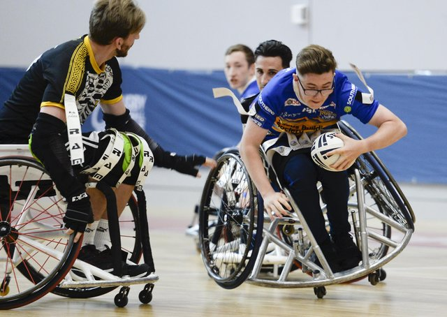 Action from the Wheelchair Challenge Cup Final between victorious Leeds Rhinos and The Argonauts Skeleton Army at the English Institute of Sport in Sheffield.  Picture: Dean Atkins