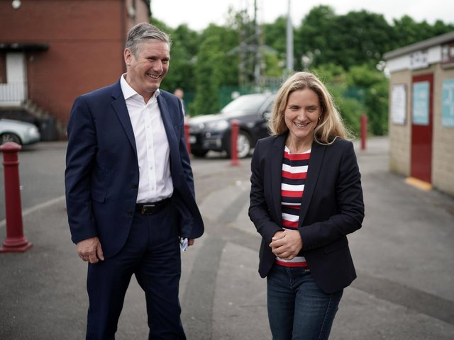 Labour party leader Sir Keir Starmer and Batley and Spen by-election candidate Kim Leadbeater tour Batley Bulldogs Rugby league stadium on June 10. Photo by Christopher Furlong/Getty Images.