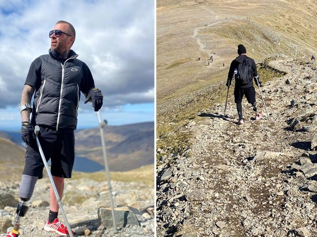 Ben Lovell, 42, had never climbed a mountain before he had to have his right leg amputated below the knee due to a blood clot.