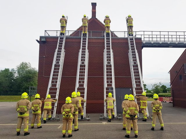 The 15 trainees will be climbing and descending a total of 17,696 metres on ladders