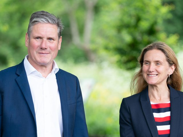 Keir Starmer and Labour candidate Kim Leadbeater during a visit to the Jo Cox Community Wood in Liversedge
