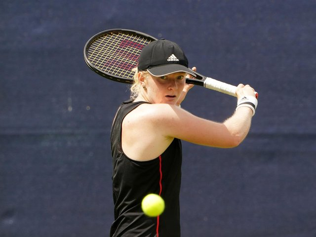 Great Britain's Francesca Jones in action against Spain's Georgina Garcia-Perez during day three of the Viking Open at Nottingham Tennis Centre on Monday June 7, 2021.