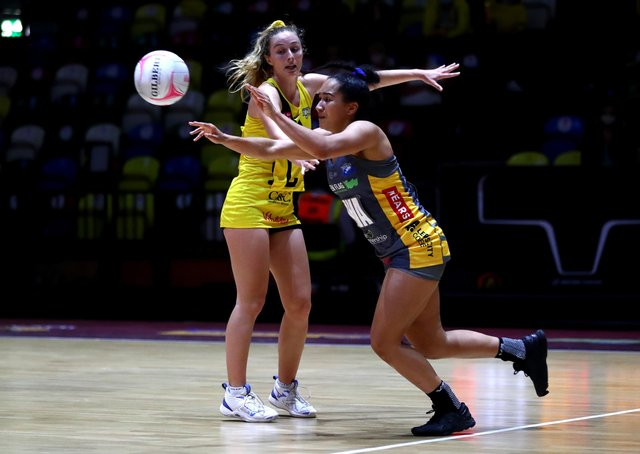 Brie Grierson, of Leeds Rhinos, passes the ball during the Vitality Netball Super League third-place play-off defeat to Manchester Thunder at Copper Box Arena. Picture: Chloe Knott/Getty Images for England Netball.