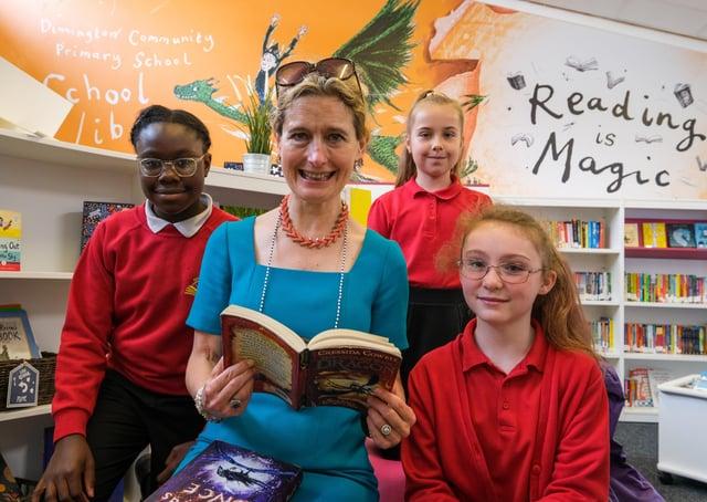 Children's Laureate Cressida Cowell during a recent visit to Dinnington Community Primary School.