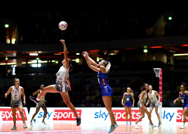 UP FOR IT: Action from Saturday's Vitality Superleague play-off semi-final match between Loughborough Lightning and Leeds Rhinos at London's Copper Box Arena. Picture: Chloe Knott/Getty Images.