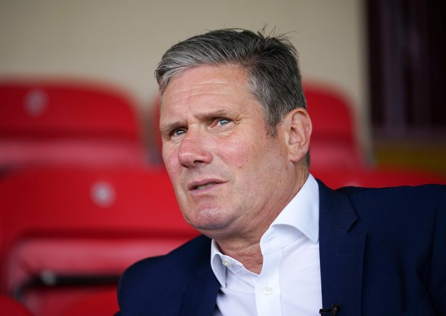 Labour leader Sir Keir Starmer is coming under intense pressure ahead of this week's Batley and Spen by-election. He is pictured during a recent visit to Batley to support his party's candidate Kim Leadbeater.