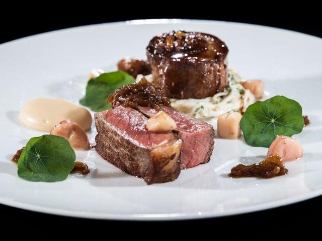 Sirloin, Beef Olive, Celeriac, Sauce Bercy and Marrow. Picture: James Hardisty