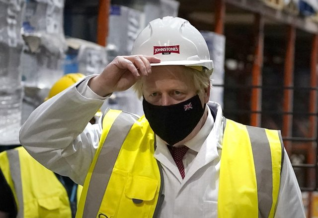Boris Johnson during a campaign visit to Batley on Monday.